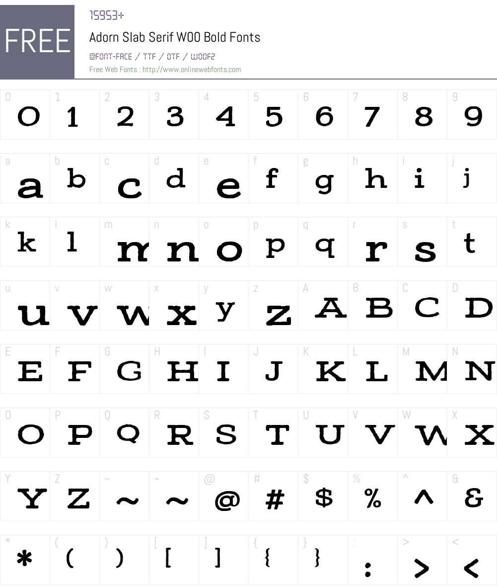 AdornSlabSerifW00-Bold Font Screenshots