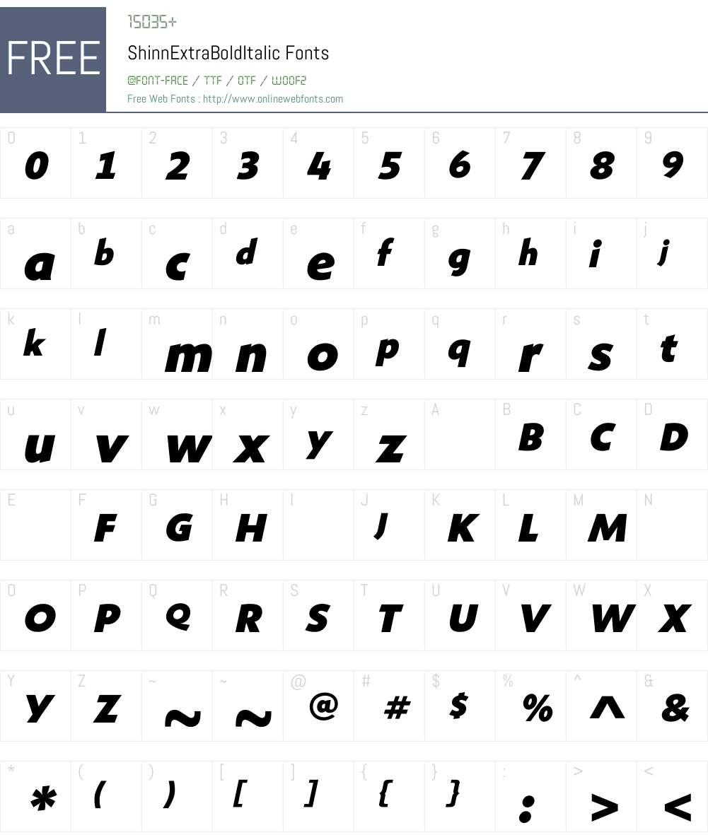 ShinnExtraBoldItalic Font Screenshots