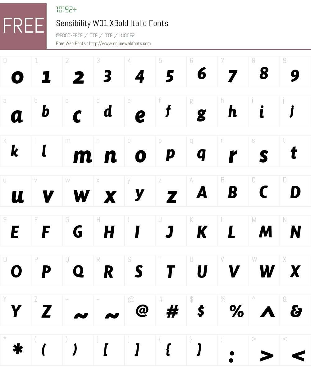 SensibilityW01-XBoldItalic Font Screenshots
