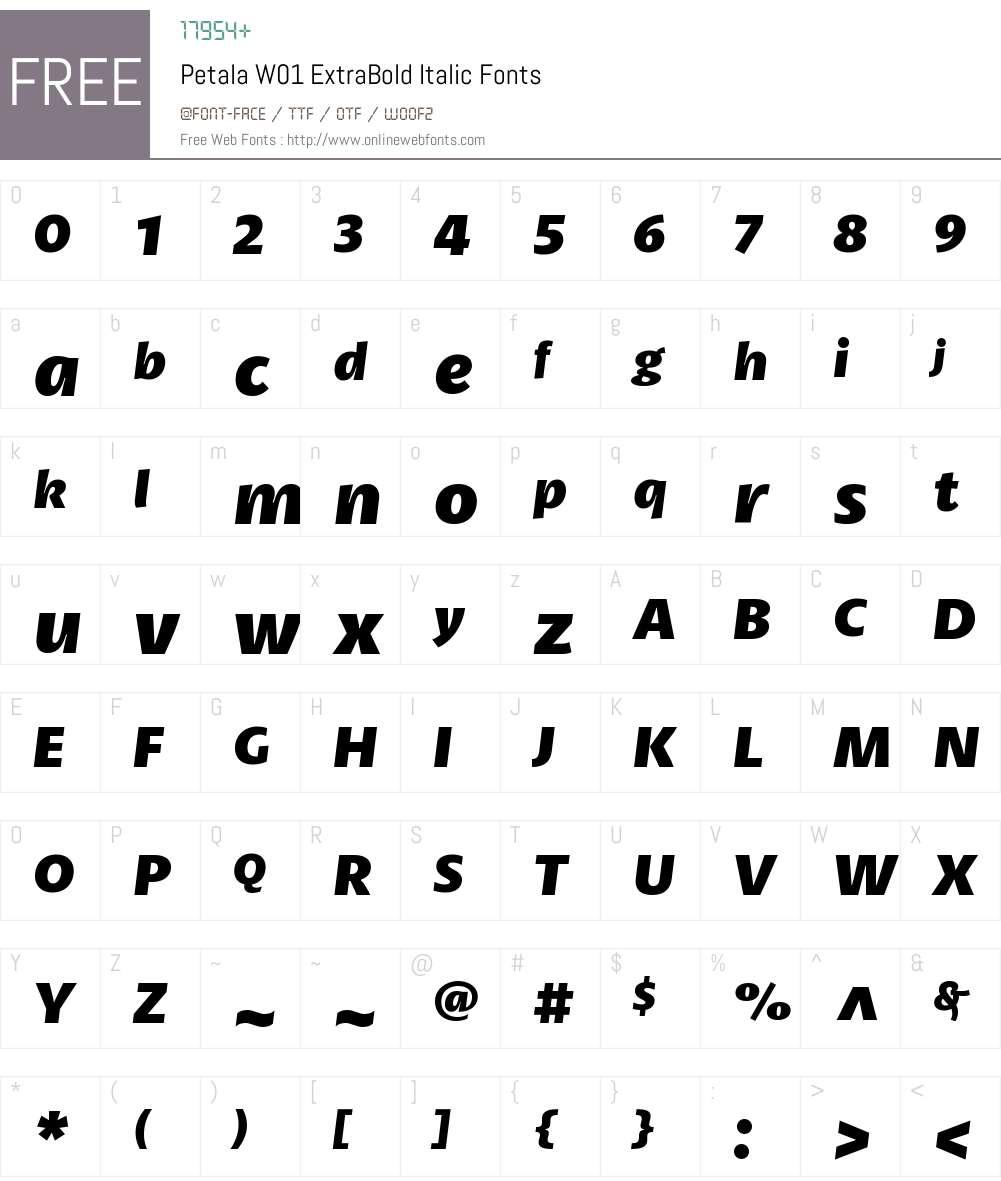 PetalaW01-ExtraBoldItalic Font Screenshots