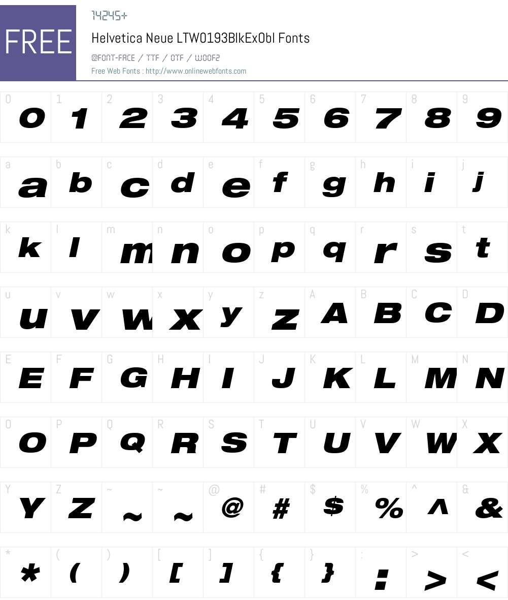 HelveticaNeueLTW01-93BlkExObl Font Screenshots