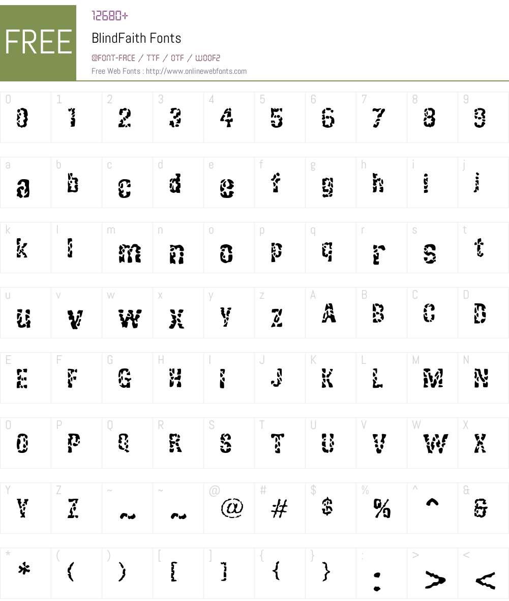 BlindFaith Font Screenshots