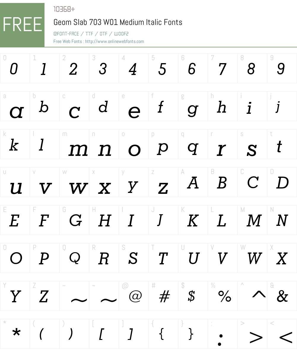 GeomSlab703W01-MediumItalic Font Screenshots