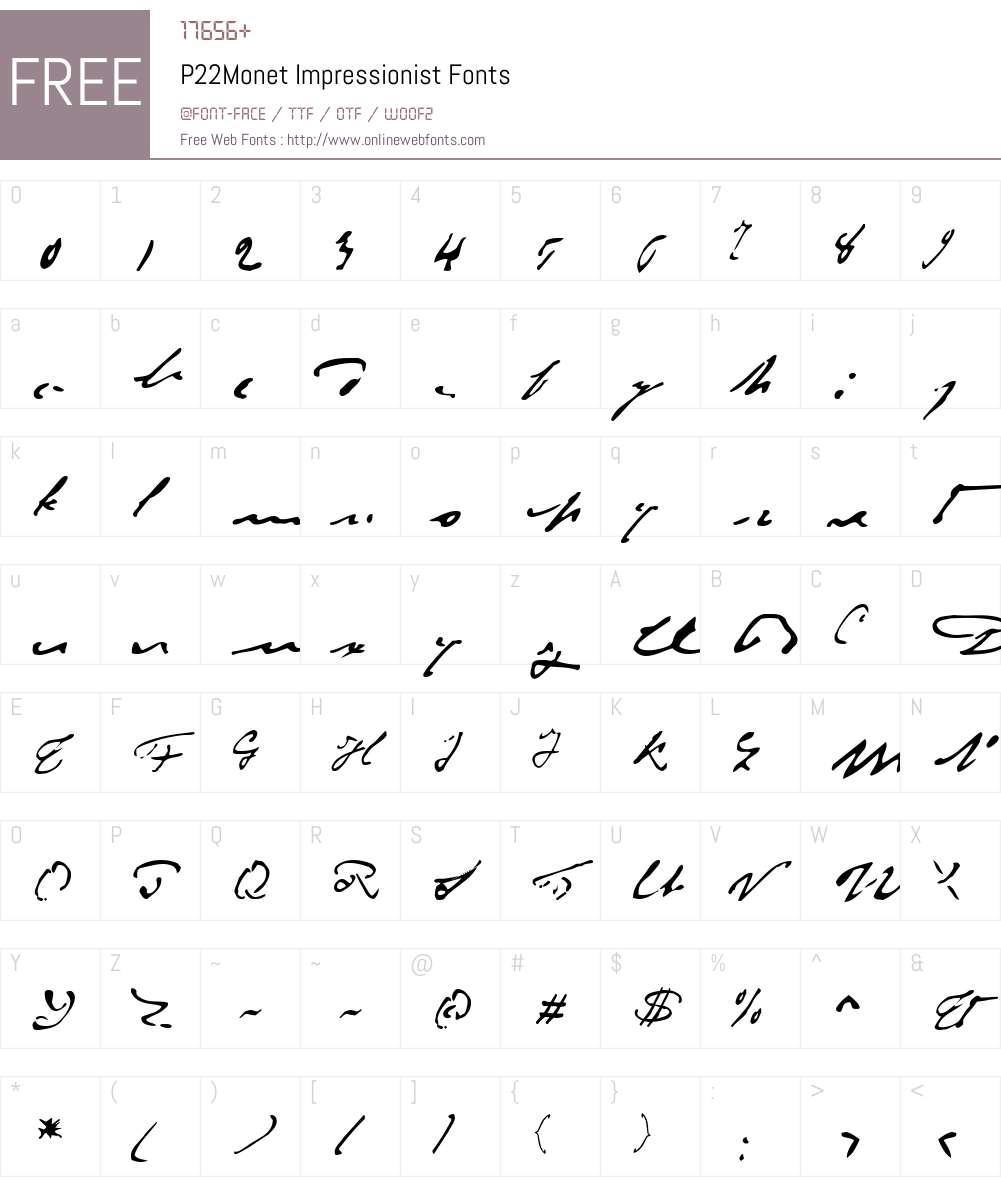 P22Monet Font Screenshots