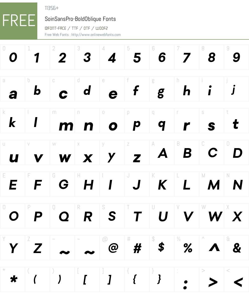 Soin Sans Pro Bold Font Screenshots