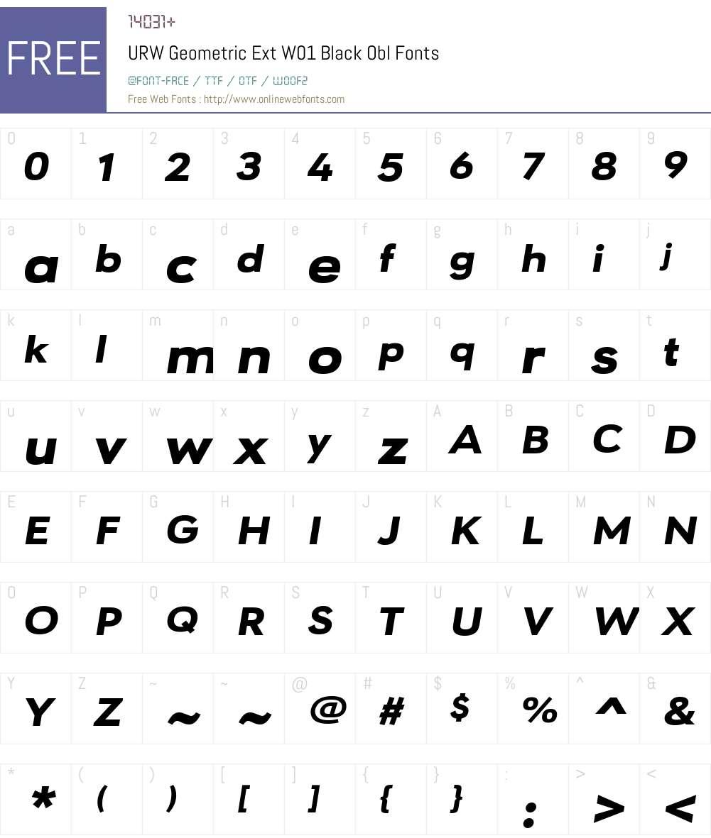 URWGeometricExtW01-BlackObl Font Screenshots
