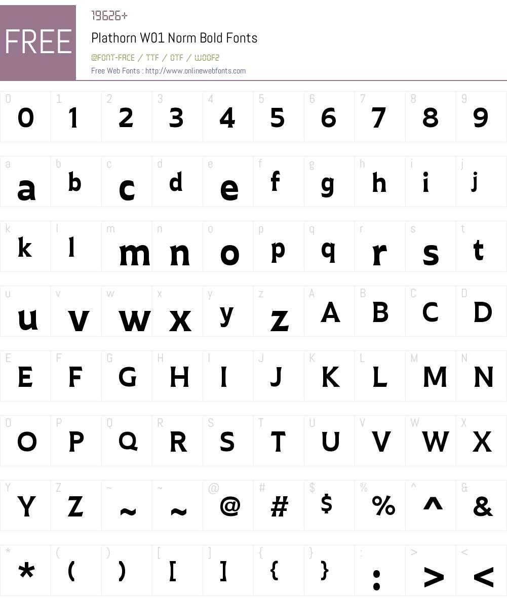 PlathornW01-NormBold Font Screenshots