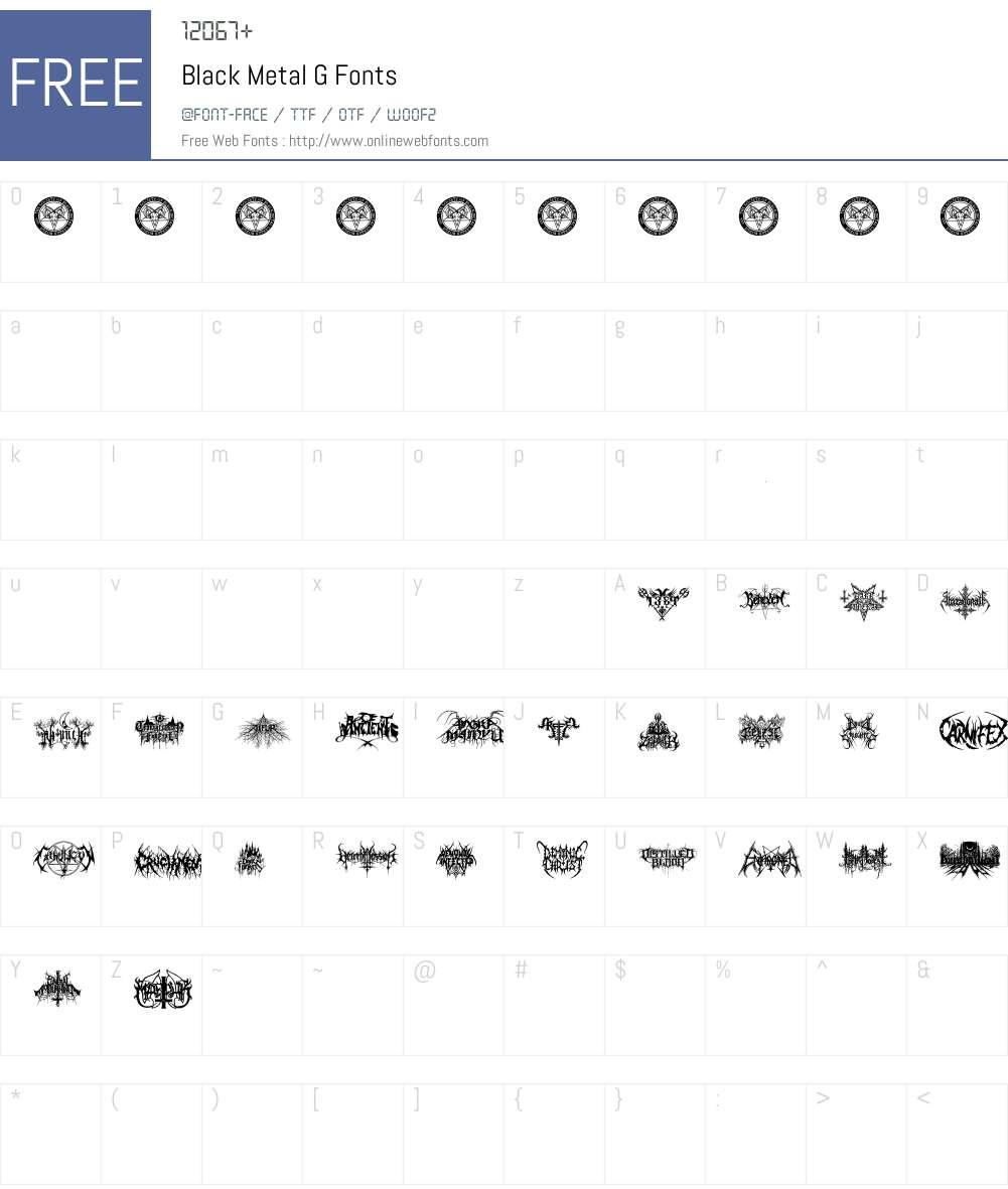 Black Metal G Font Screenshots