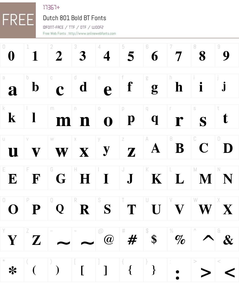 Dutch801 Rm BT Font Screenshots
