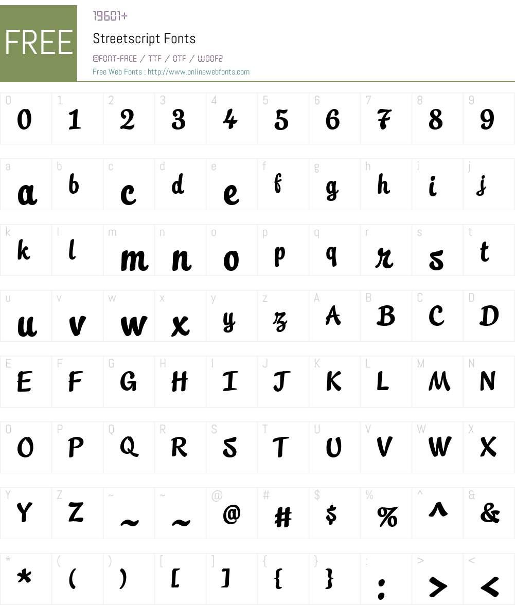 Streetscript Font Screenshots
