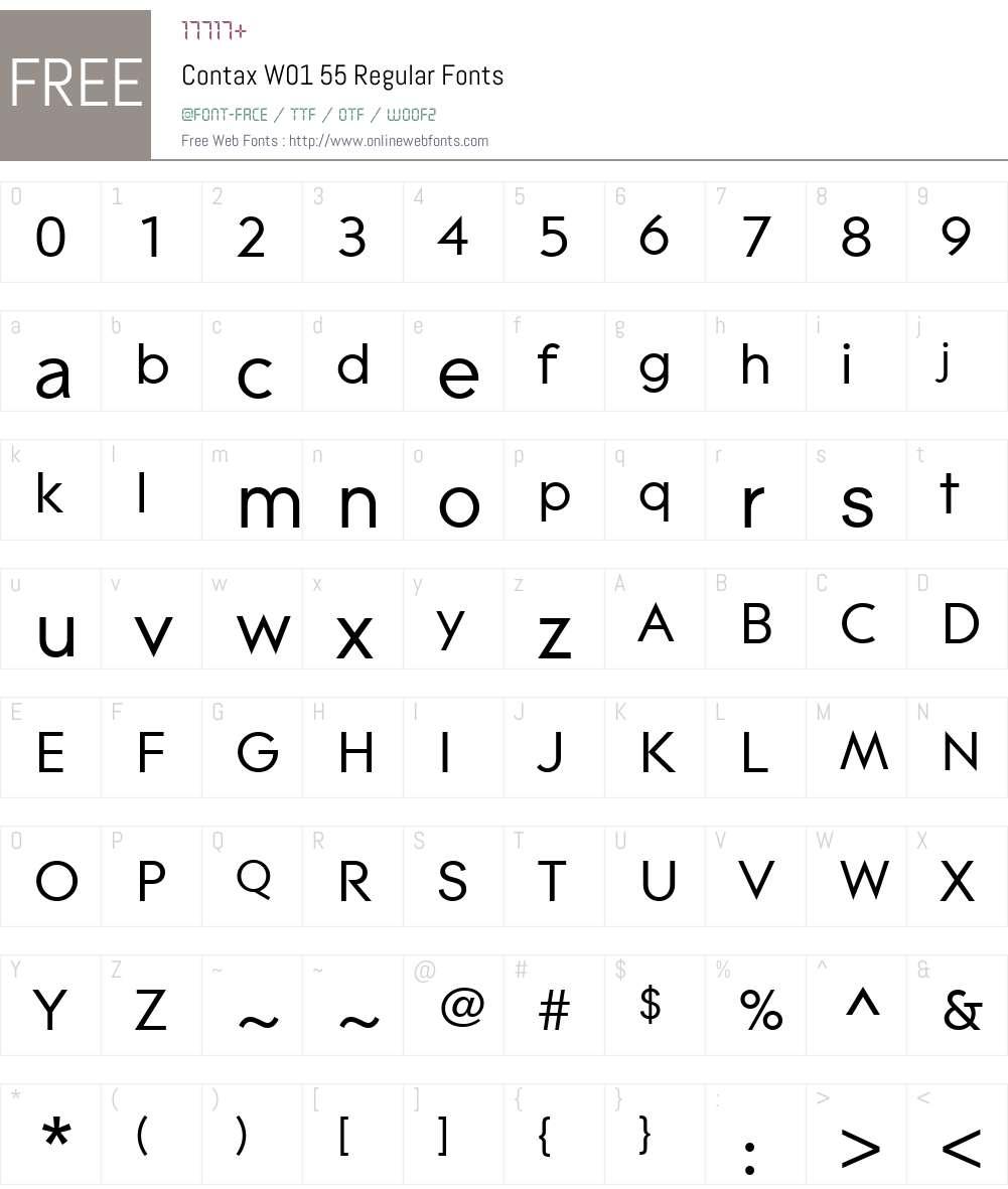 ContaxW01-55Regular Font Screenshots