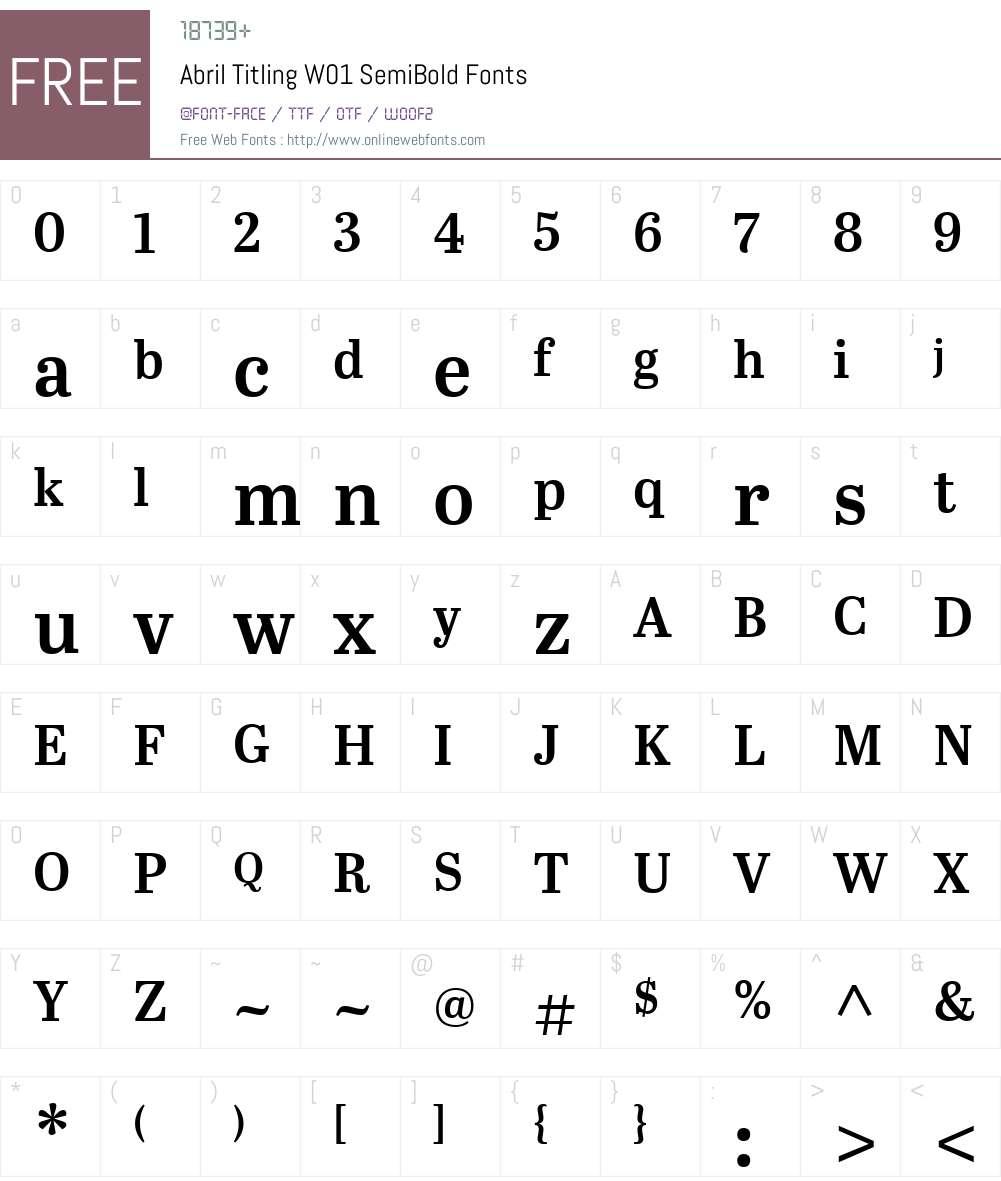 AbrilTitlingW01-SemiBold Font Screenshots