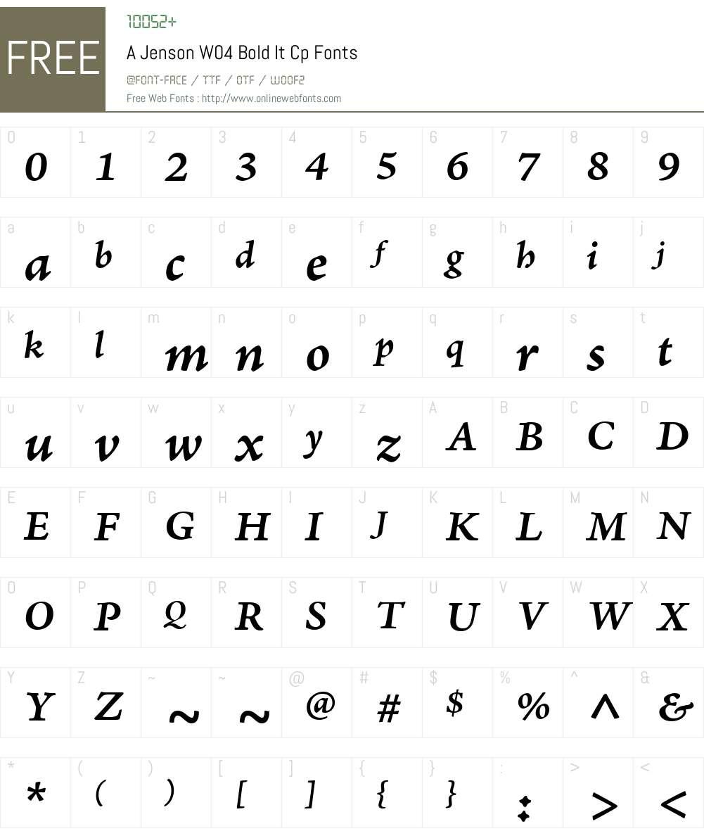 AJensonW04-BoldItCp Font Screenshots