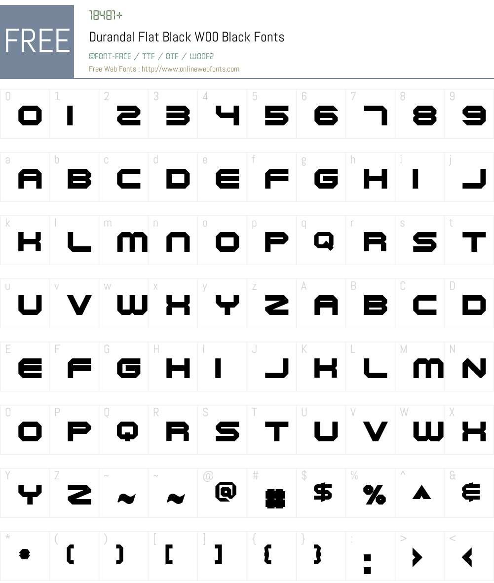 DurandalFlatBlackW00-Black Font Screenshots