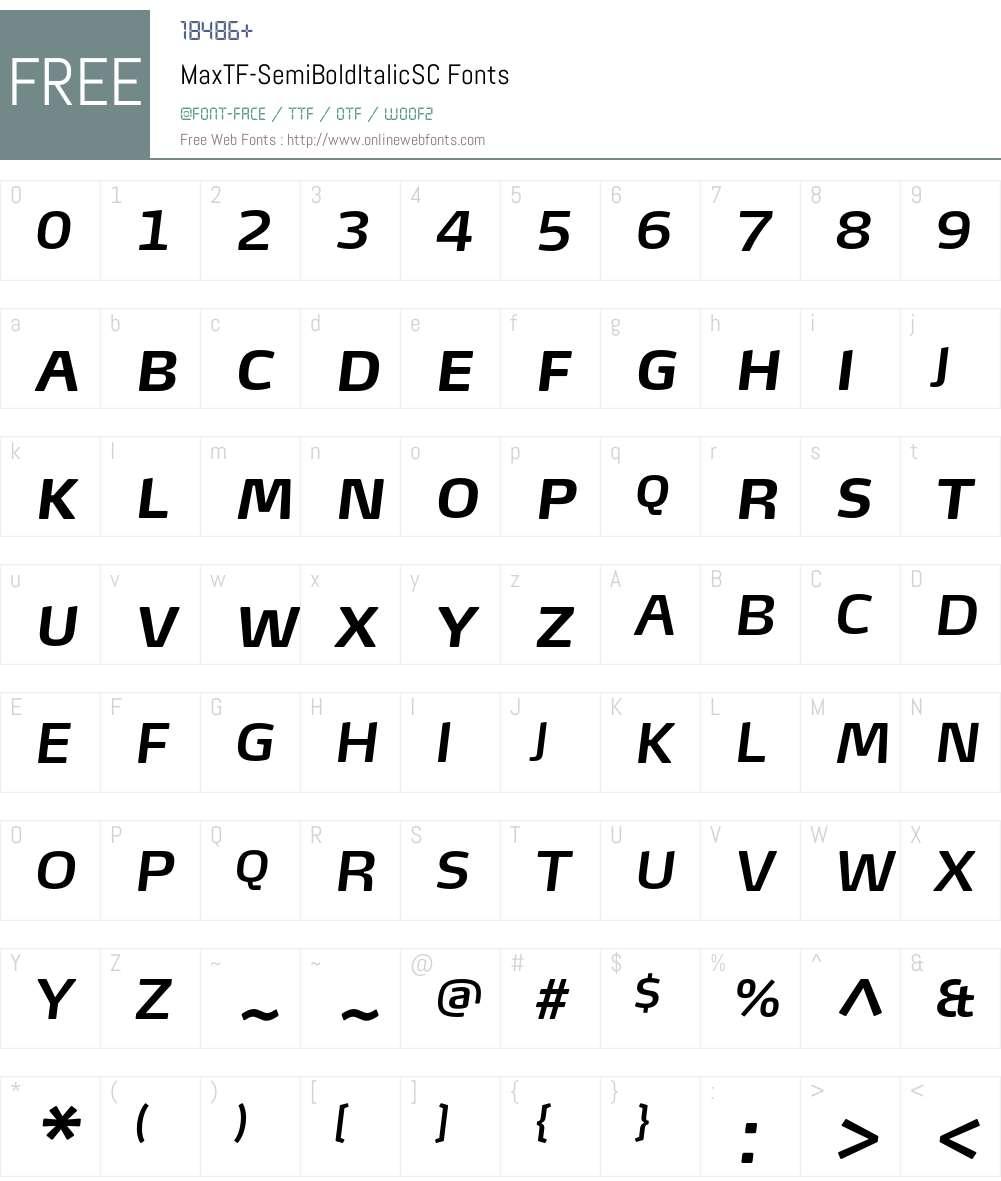 MaxTF-SemiBoldItalicSC Font Screenshots