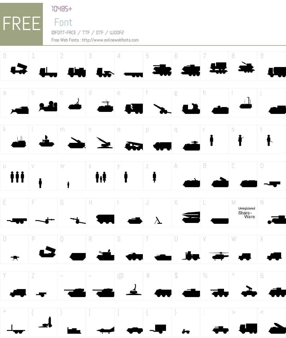 Milpics Font Screenshots