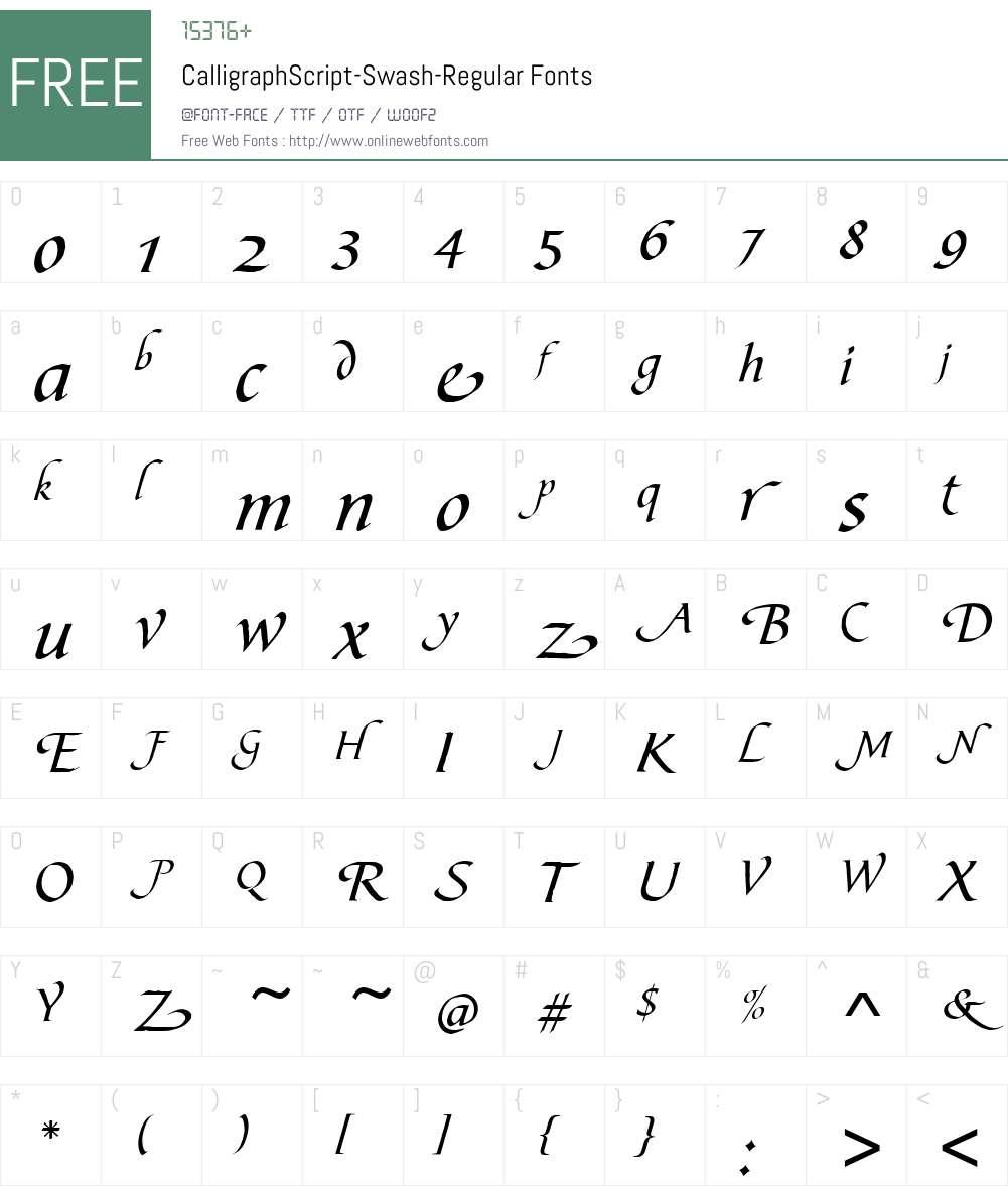CalligraphScript-Swash Font Screenshots