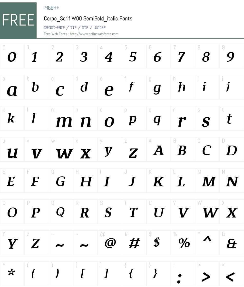Corpo_SerifW00-SmBd_italic Font Screenshots