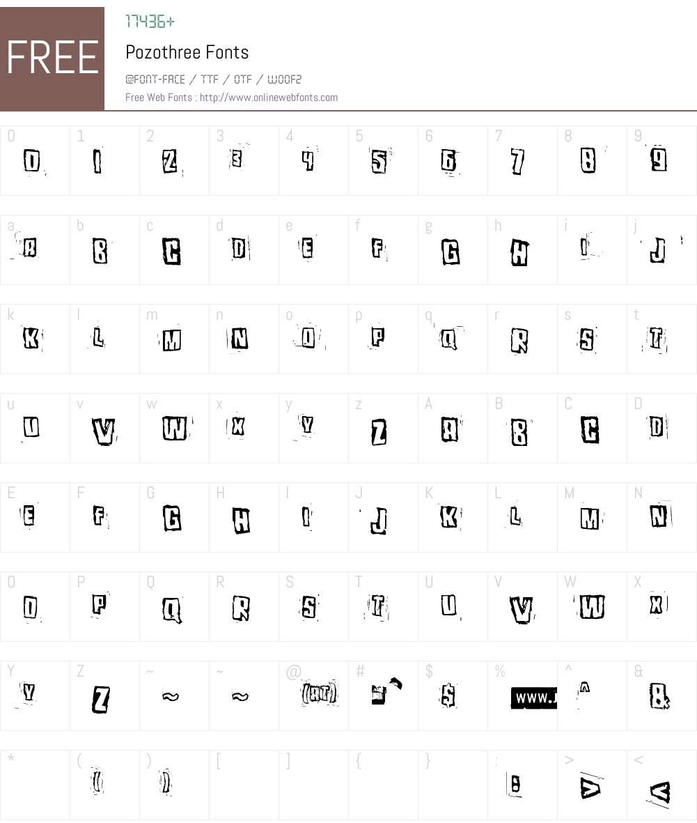 Pozothree Font Screenshots