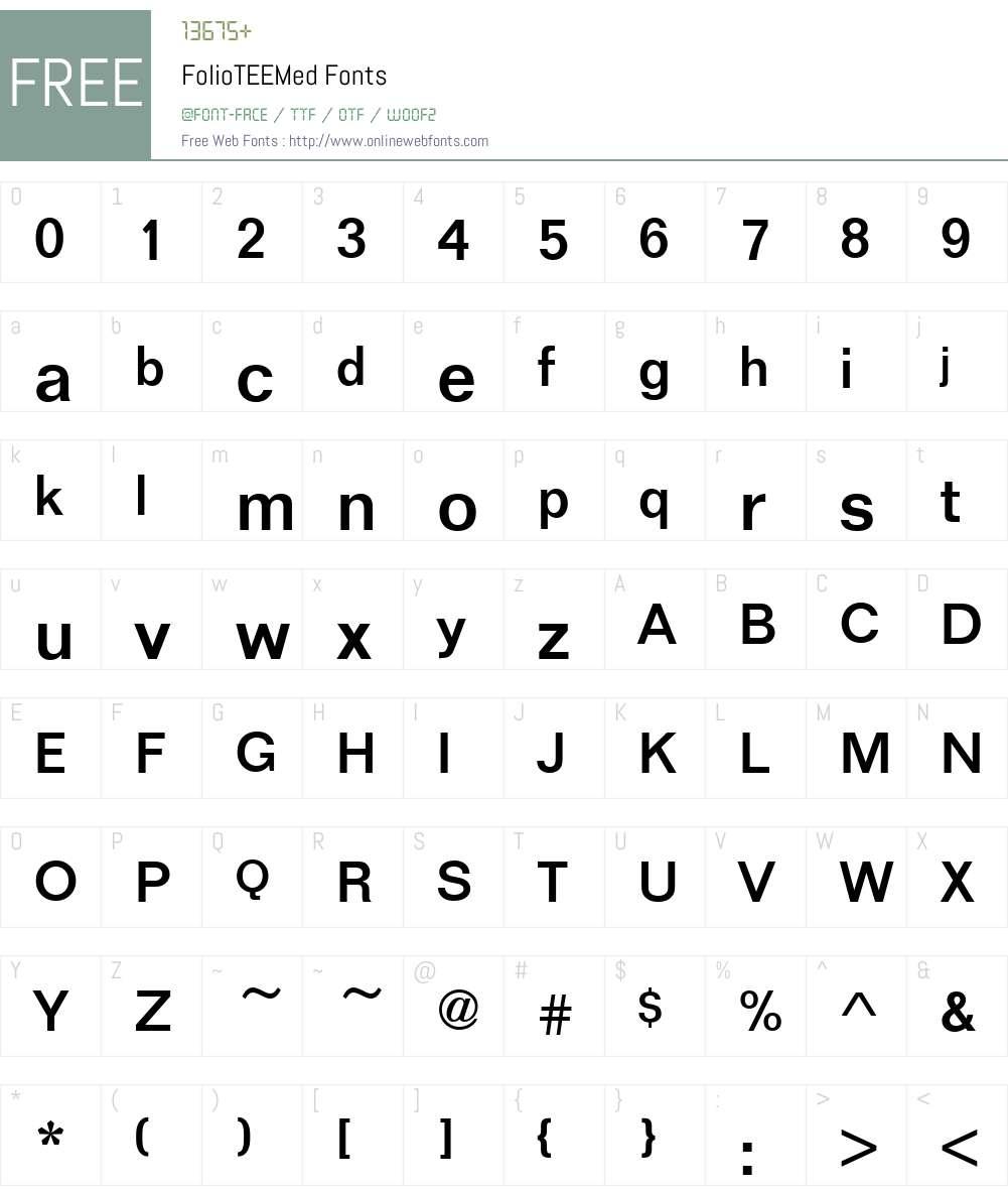 FolioTEEMed Font Screenshots