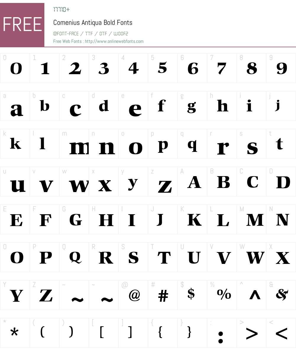 Comenius Antiqua Font Screenshots