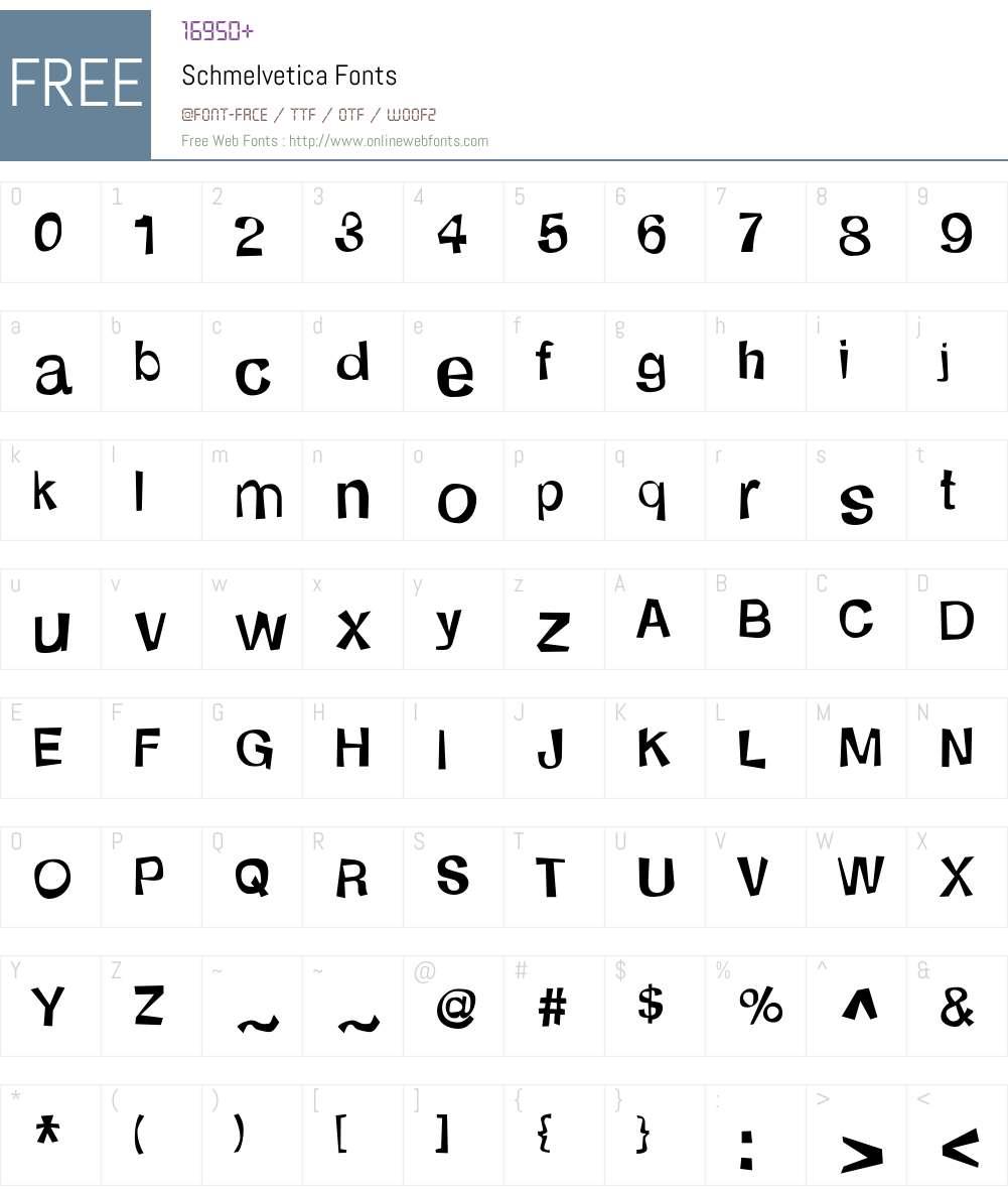 Schmelvetica Font Screenshots