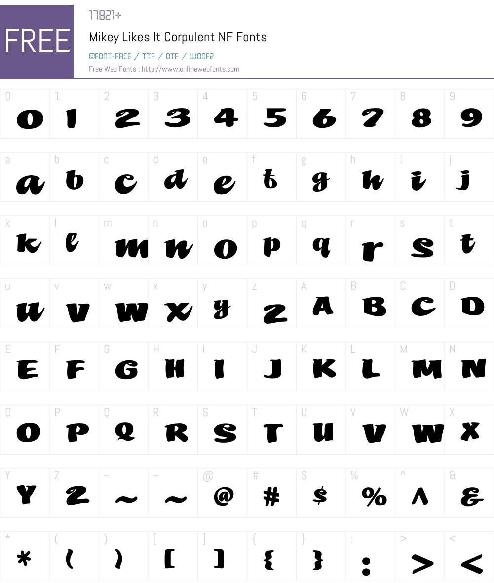 MikeyLikesItCorpulentNF Font Screenshots