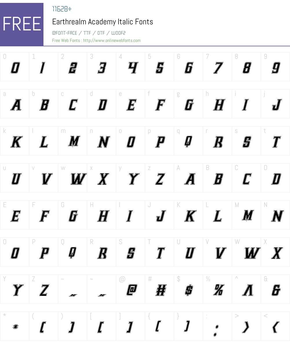 Earthrealm Academy Italic Font Screenshots