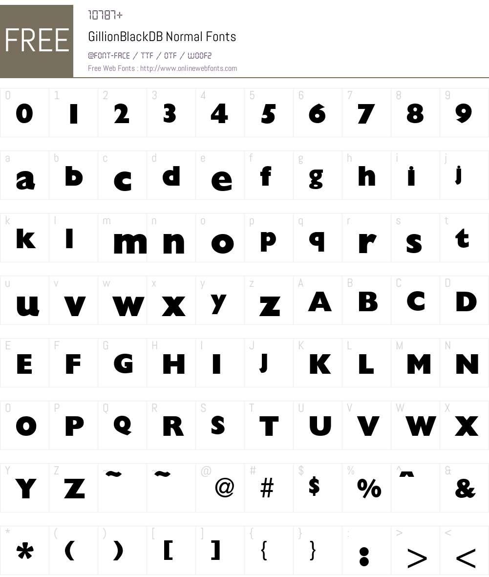 GillionBlackDB Font Screenshots