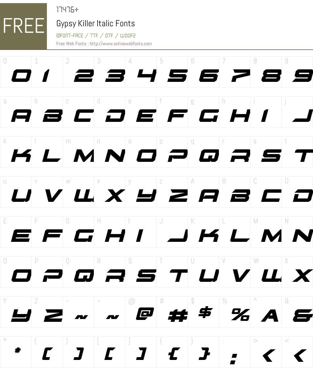 Gypsy Killer Italic Font Screenshots