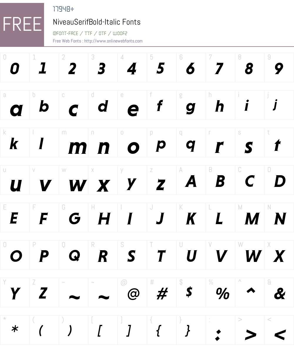 Niveau Serif Bold Font Screenshots