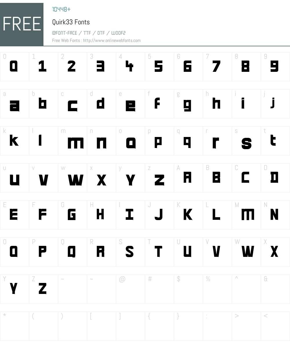 Quirk Font Screenshots