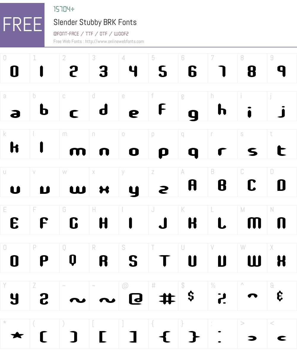 Slender Stubby BRK Font Screenshots
