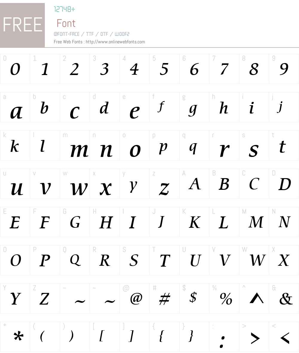 CerigoW01-MediumItalic Font Screenshots