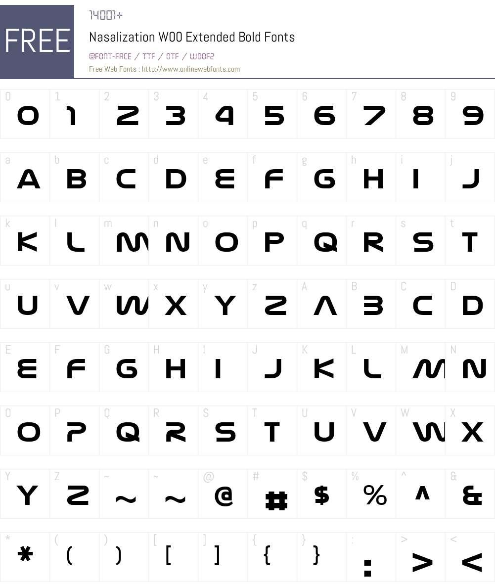 NasalizationW00-ExtBold Font Screenshots