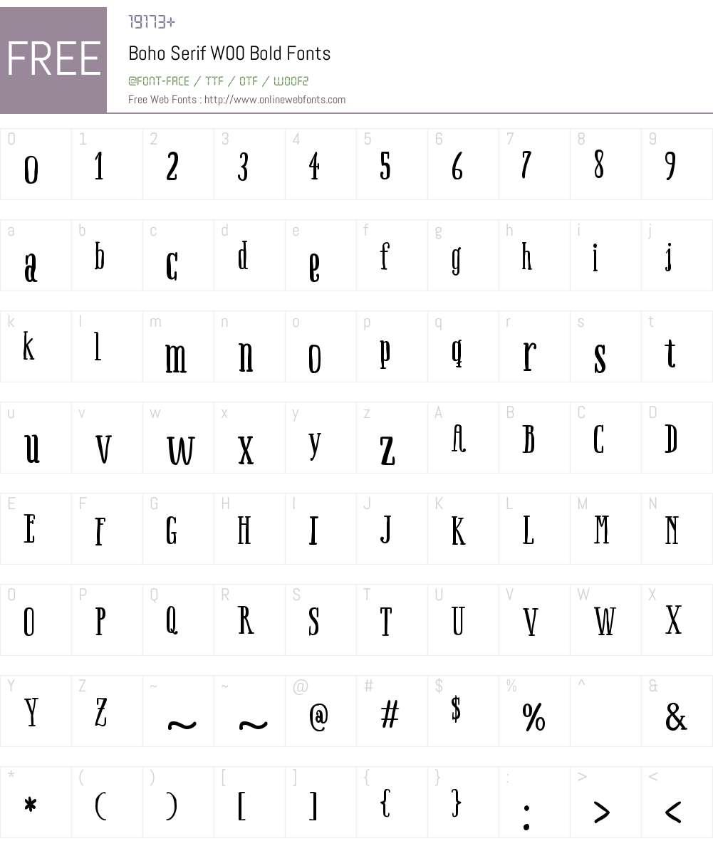 BohoSerifW00-Bold Font Screenshots