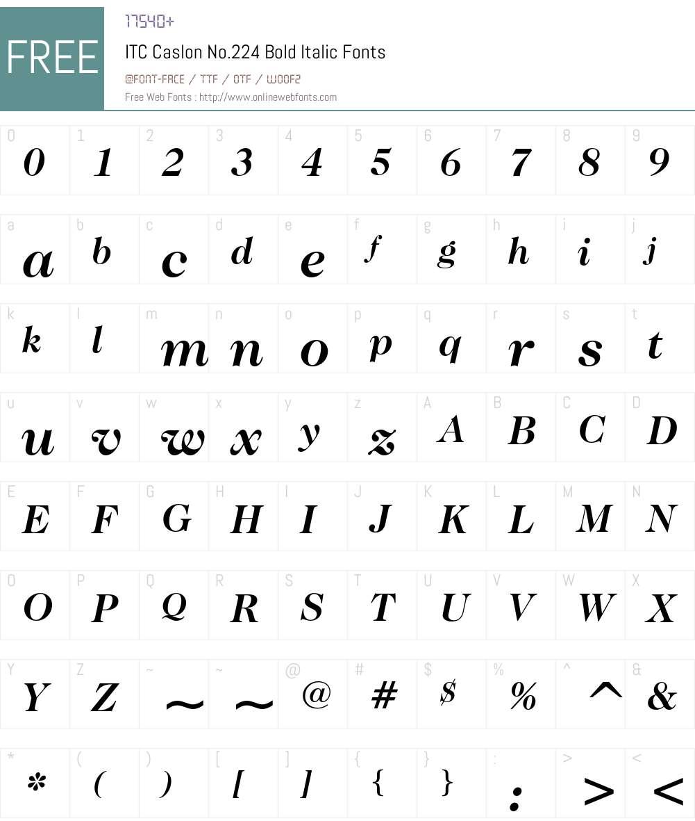 ITC Caslon No.224 Font Screenshots