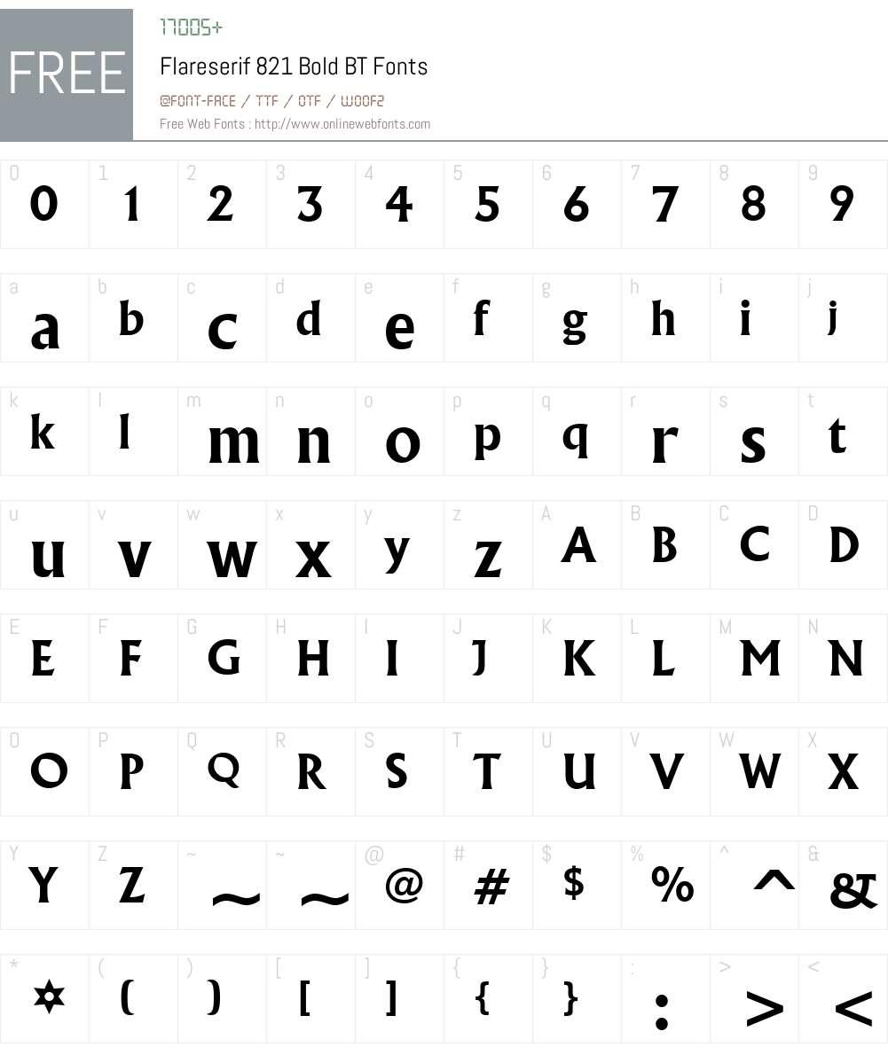 Flareserif821 Lt BT Font Screenshots