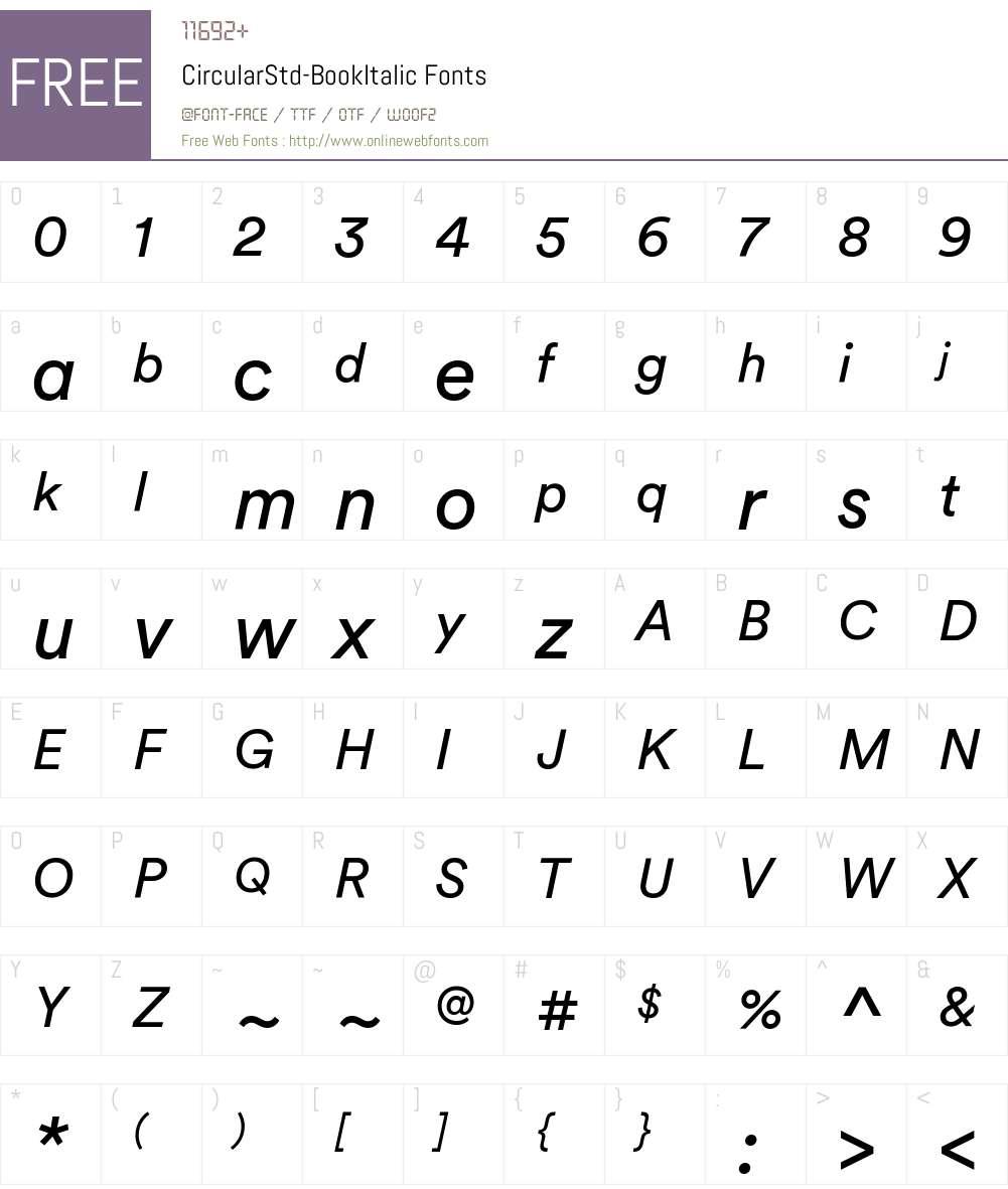 Circular Std Book Italic Font Screenshots