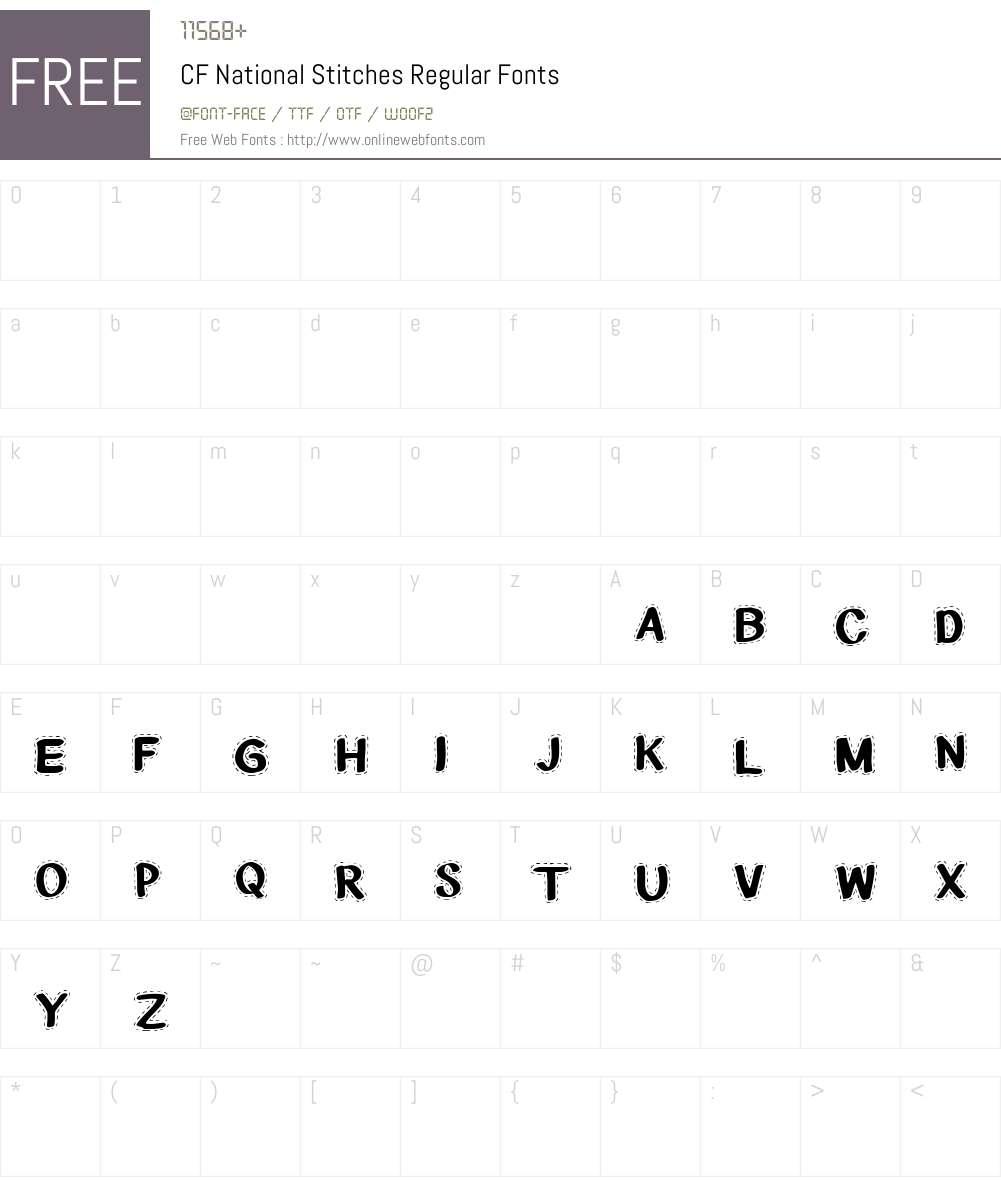 CF National Stitches Font Screenshots