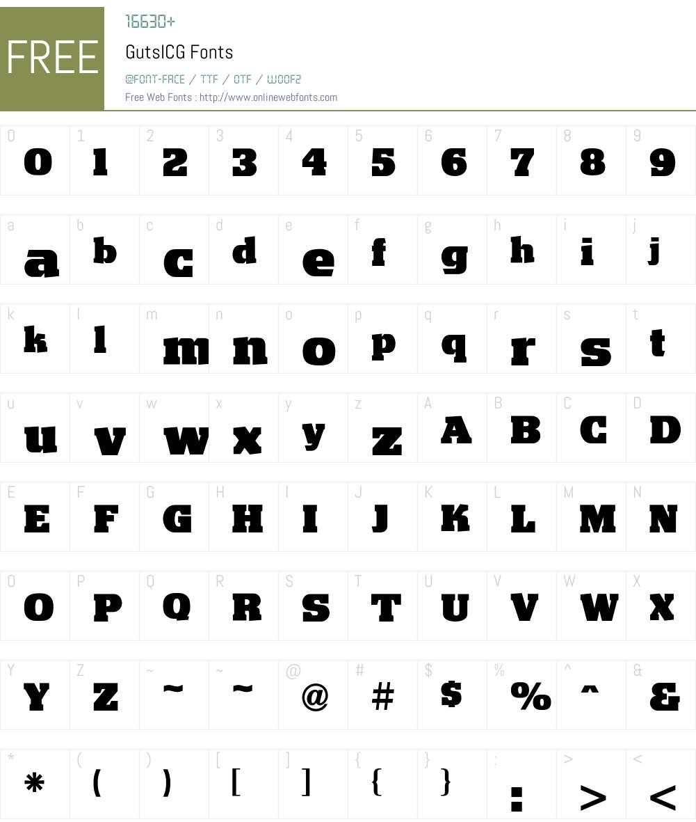 GutsICG Font Screenshots