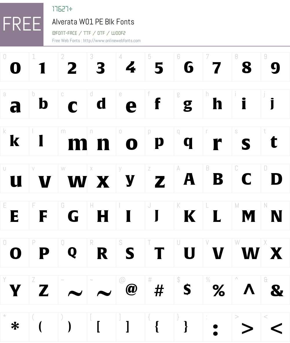 AlverataW01-PEBlk Font Screenshots