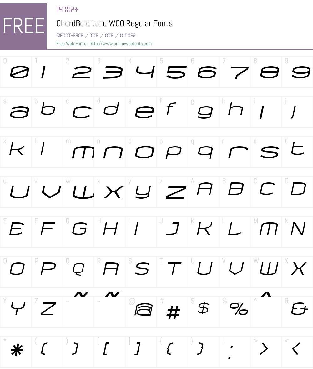 ChordBoldItalic Font Screenshots