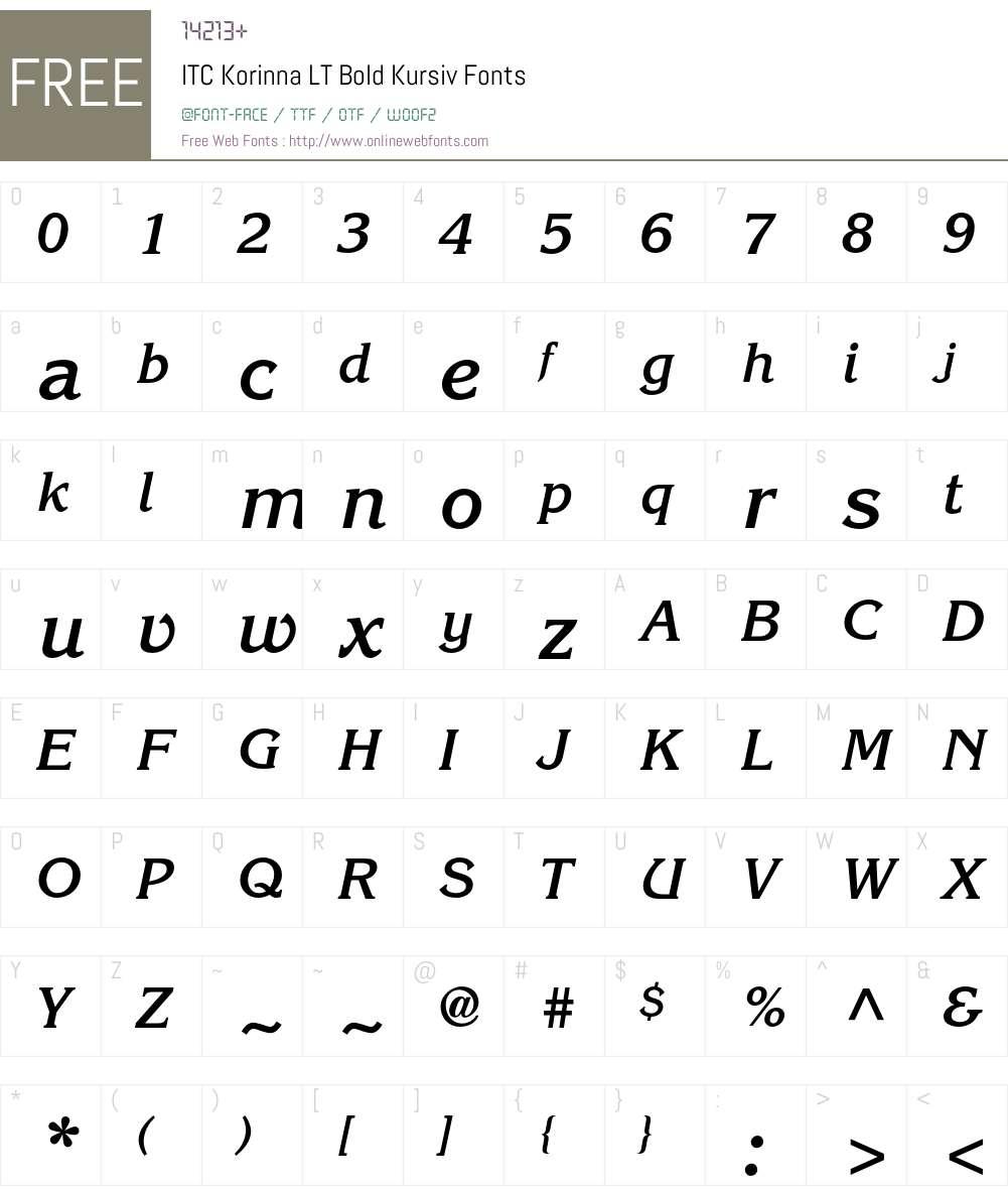 ITC Korinna LT Font Screenshots