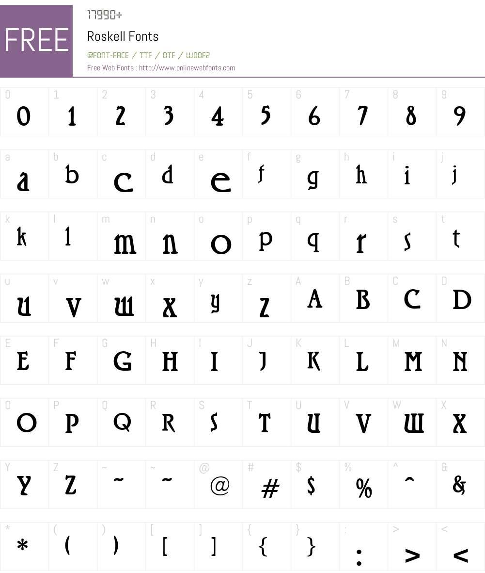 Roskell Font Screenshots