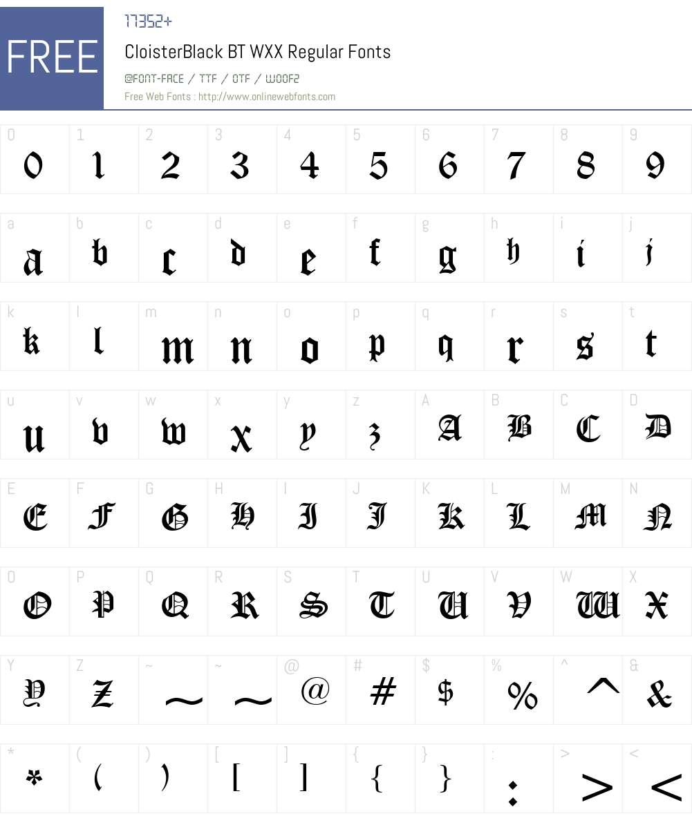 CloisterBlackBTWXX-Regular Font Screenshots