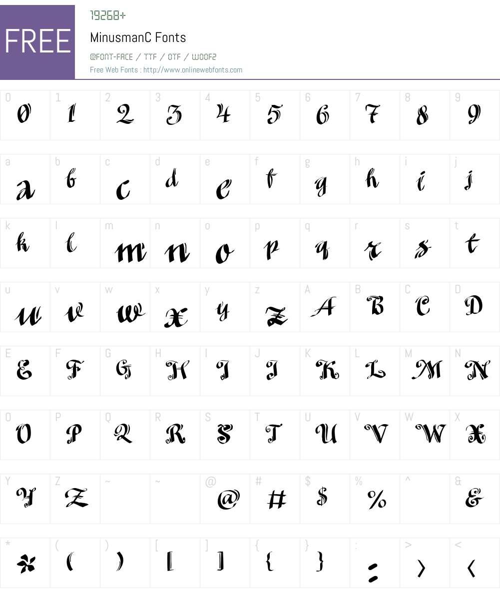 MinusmanC Font Screenshots