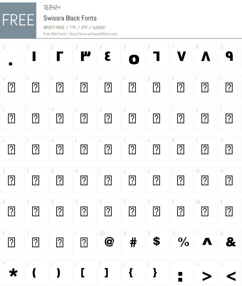 Swissra-Black Font Screenshots