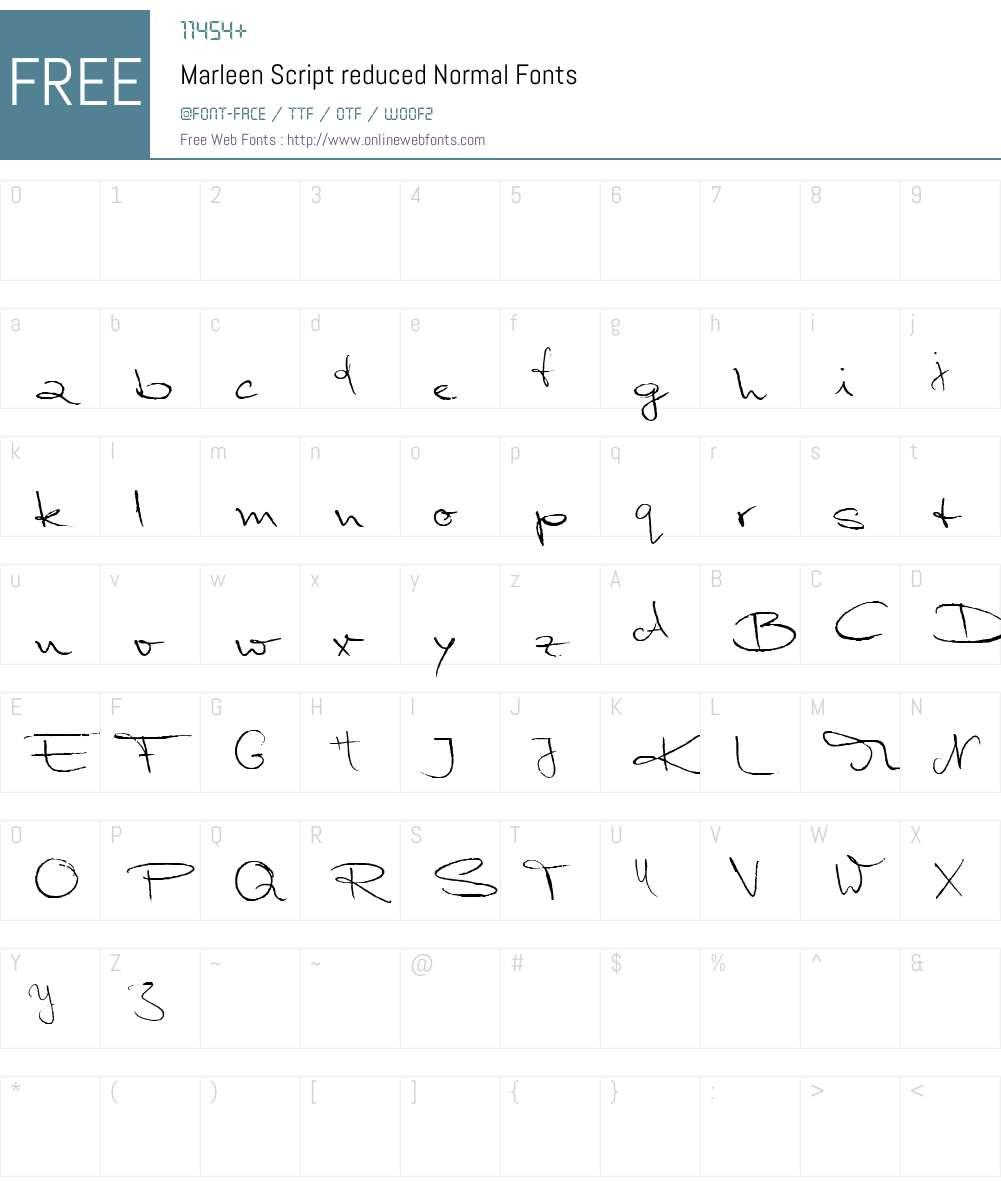 Marleen Script reduced Font Screenshots