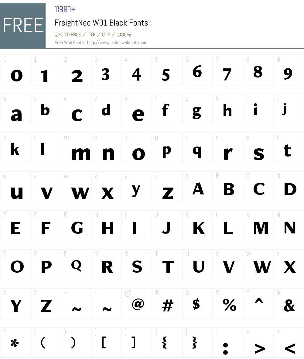 FreightNeoW01-Black Font Screenshots